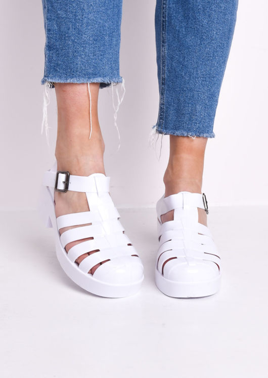 Cleated Block Heeled Jelly Sandals White