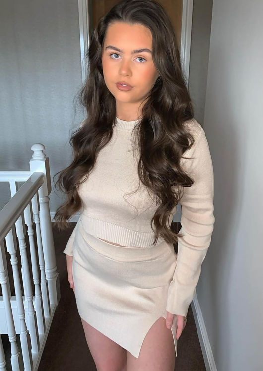 Knitted High Neck Long Sleeve Cropped Top And Mini Skirt Co Ord Set Beige