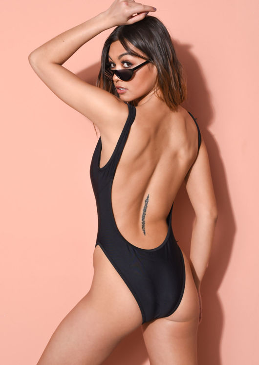 High Leg Cut Out Swimsuit Black