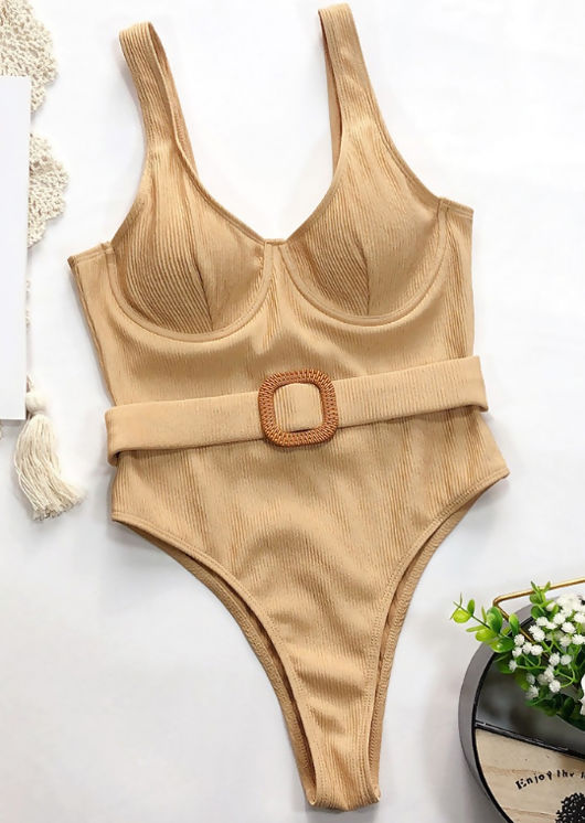 High Leg Ribbed Belted Cupped Swimsuit Beige