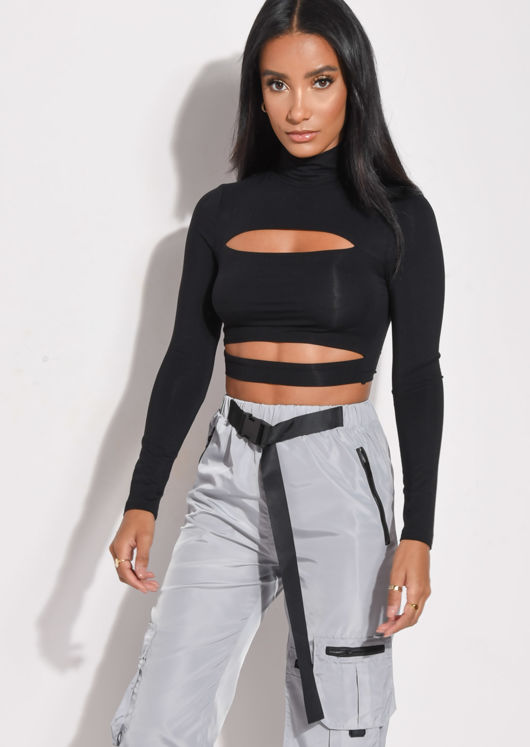 High Neck Cut Out Crop Top Black