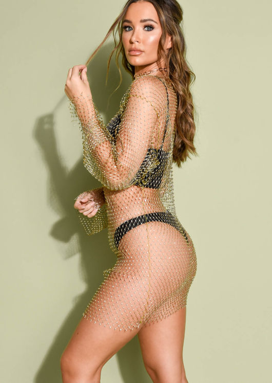 High Neck Diamante Fishnet Mini Dress Gold