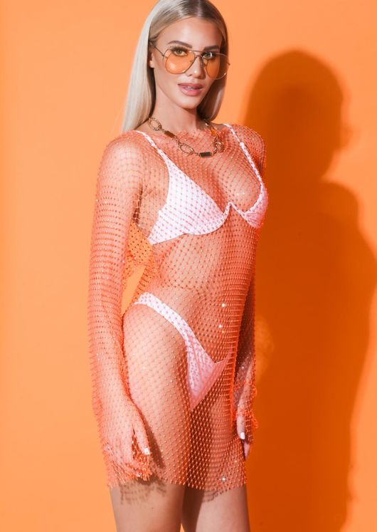 High Neck Diamante Fishnet Mini Dress Orange