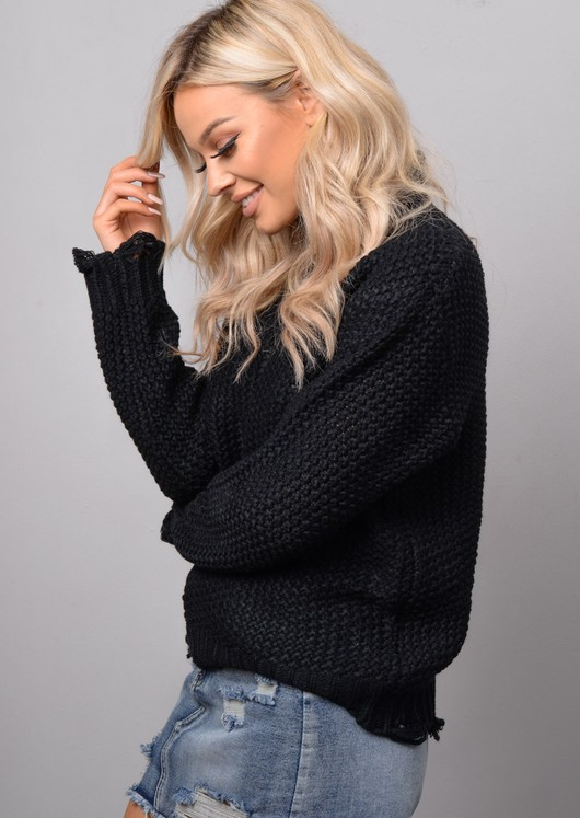 High Neck Distressed Hem Cable Knit Jumper Black