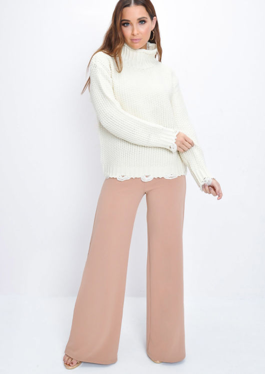 High Neck Distressed Hem Cable Knit JumperCream White