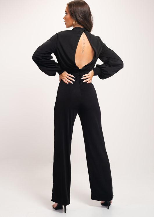 High Neck Open Back Puff Sleeve Jumpsuit Black