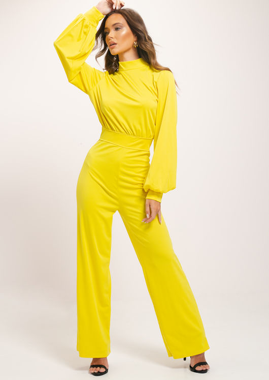 High Neck Open Back Puff Sleeve Jumpsuit Yellow
