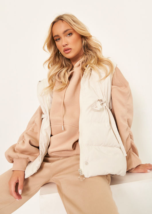 High Neck Panelled Waisted Belted Puffer Gilet Coat Beige