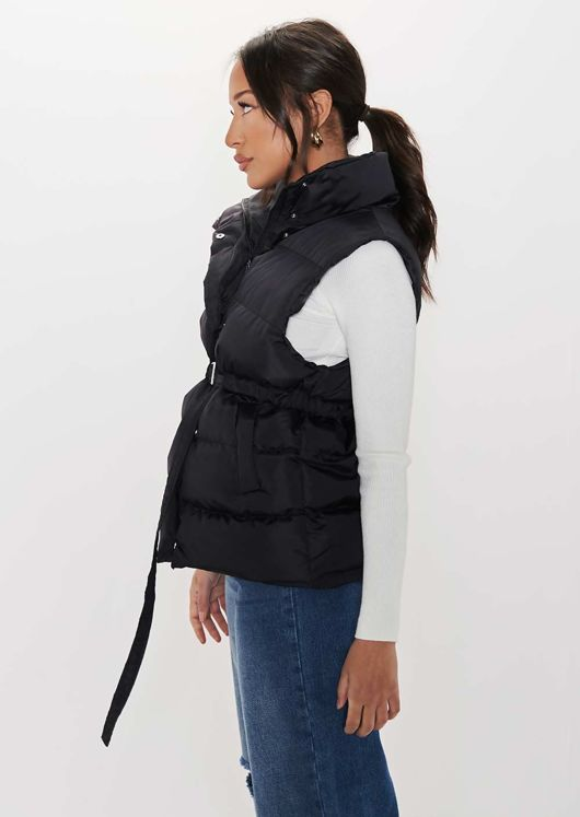 High Neck Panelled Waisted Belted Puffer Gilet Coat Black