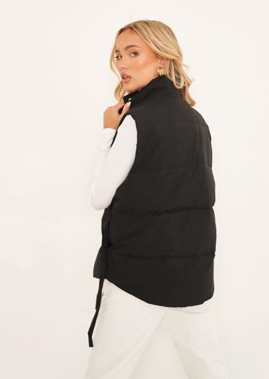 Oversized Double Drawstring Panelled Puffer Gilet Jacket Black
