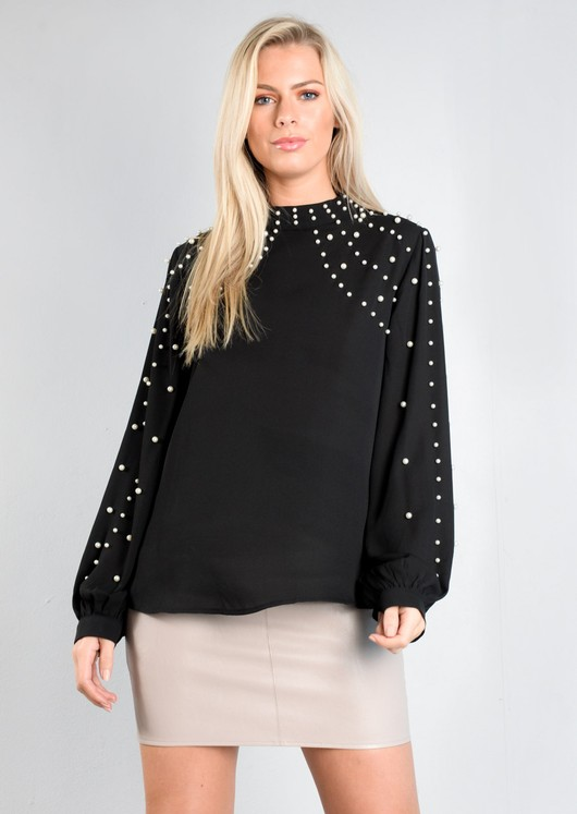 High Neck Pearl Embellished Top Black
