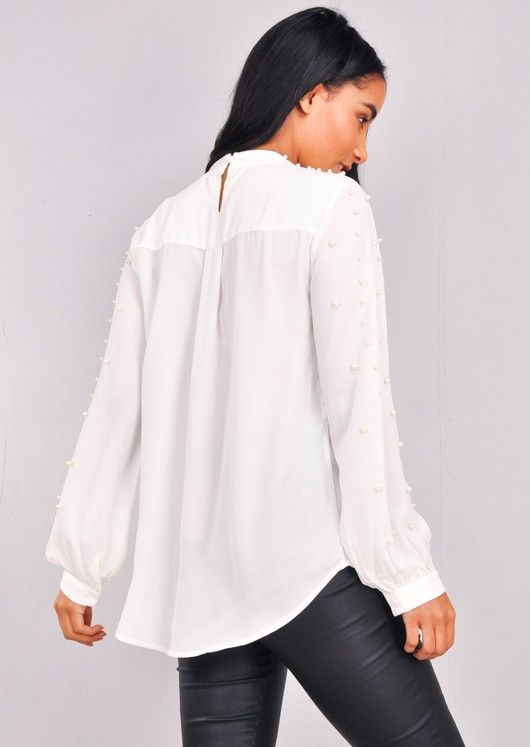 High Neck Pearl Embellished Top White