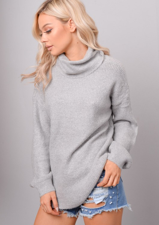 High Turtle Neck Oversized Chunky Knit Jumper Grey