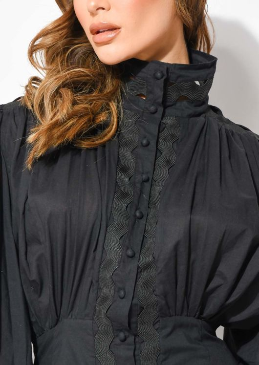 High Neck Puff Sleeved Layered Hem Shirt Dress Black