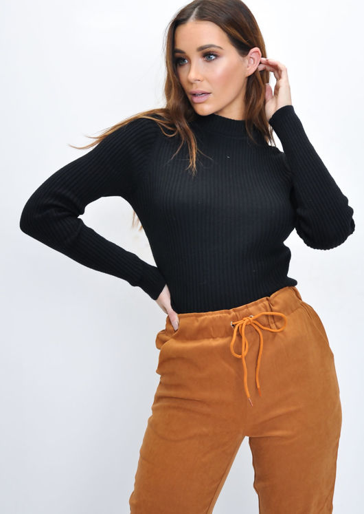 High Neck Ribbed Cropped Jumper Top Black