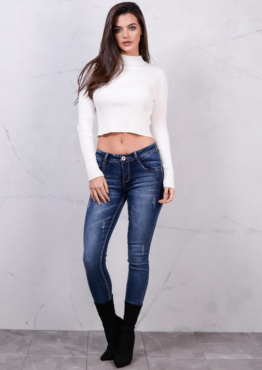 High Neck Ribbed Cropped Jumper Top Cream White