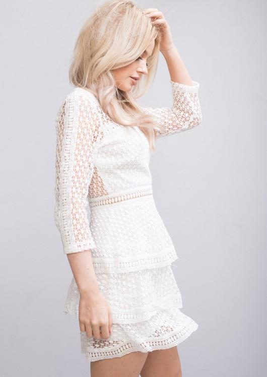 High Neck Ruffle Tiered Lace Mini Dress White