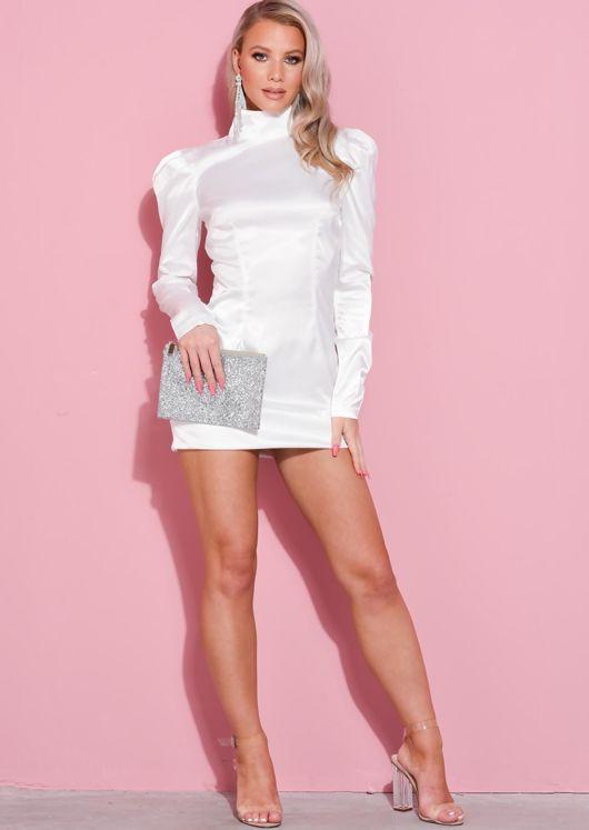 High Neck Puff Sleeve Satin Mini Dress White
