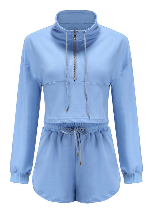 High Neck Zipped Sweatshirt Shorts Co ord Set Blue