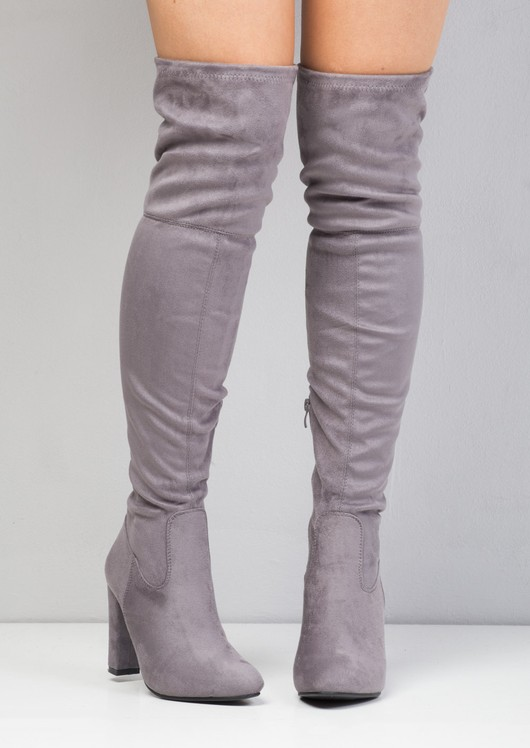 87bf69af394 Over the Knee Tie Back Faux Suede Pointed Boots Grey
