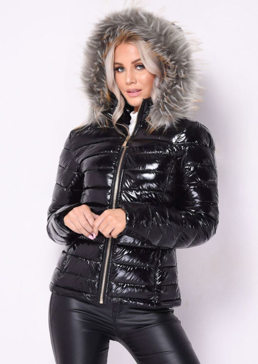 High Shine Fur Trim Hooded Puffer Coat Black
