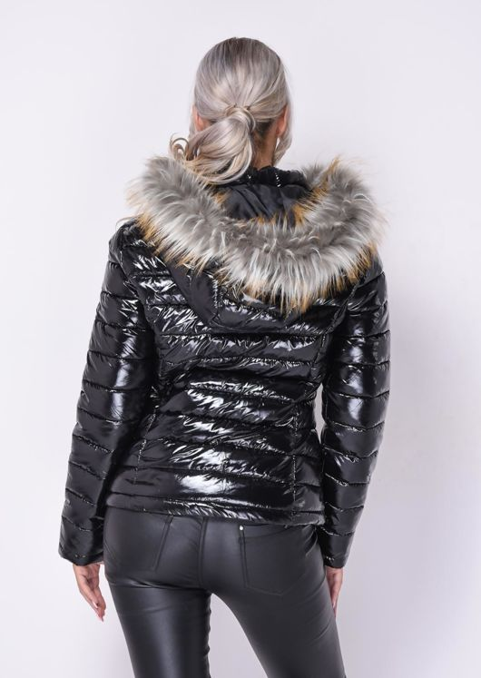 High Shine Fur Trim Hooded Puffer Coat Black Lily Lulu