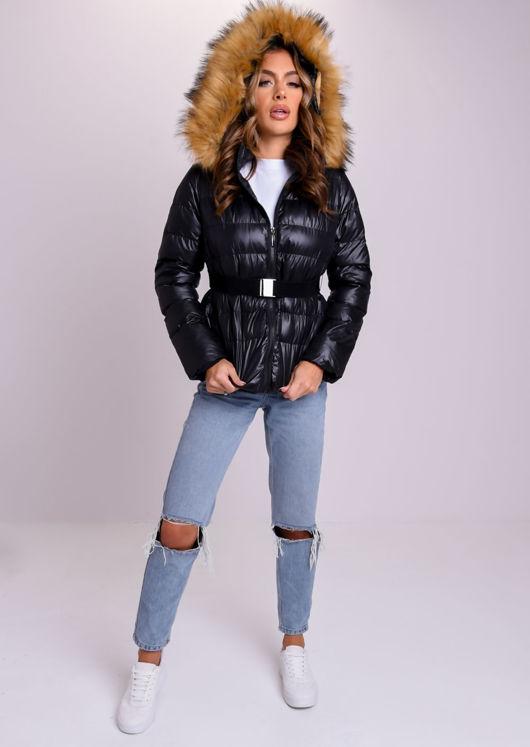 Fur Hooded High Shine Buckle Belted Puffer Jacket Coat Black