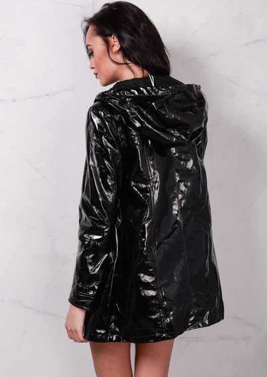 High Shine Rain Mac Festival Hooded Jacket Black