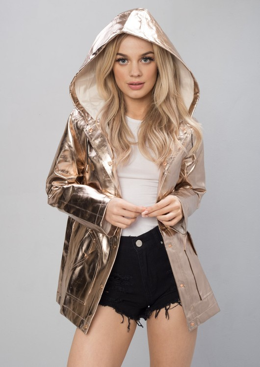 on wholesale new high quality the sale of shoes High Shine Rain Mac Festival Hooded Jacket Rose Gold