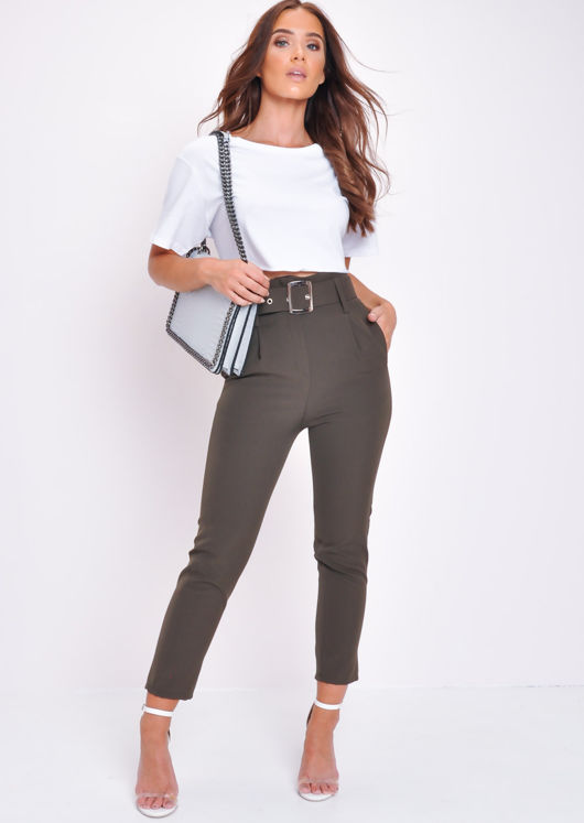 High Waist Belted Cigarette Trousers Green