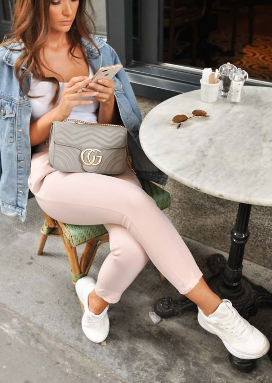 High Waist Belted Cigarette Trousers Pink