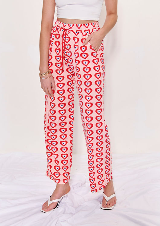 High Waist Elasticated Heart Shape Patterned Straight Leg Pants Pink