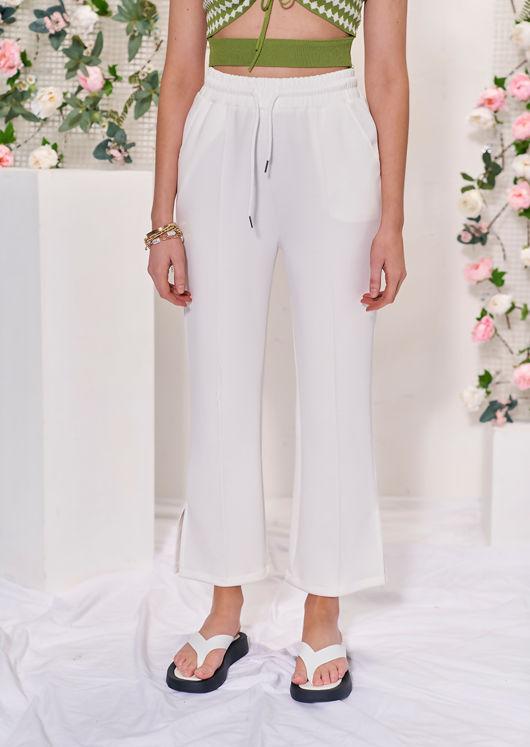 Elasticated High Waisted Side Split Hem Jogger Pants White