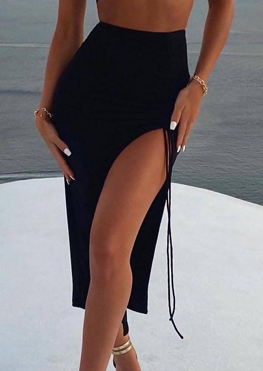 High Waist Elasticated Side Split Ruched Drawstring Midi Skirt Black