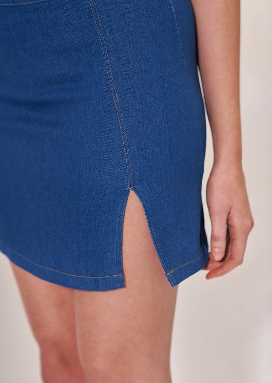 High Waist Elasticated Waistband Front Split Denim Mini Skirt Blue