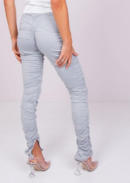 High Waisted Ankle Split Ruched Skinny Pants Legging Grey