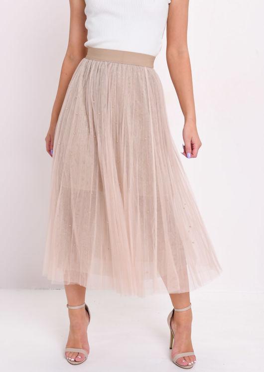 High Waisted Beaded Pleated Tulle Midaxi Skirt Beige