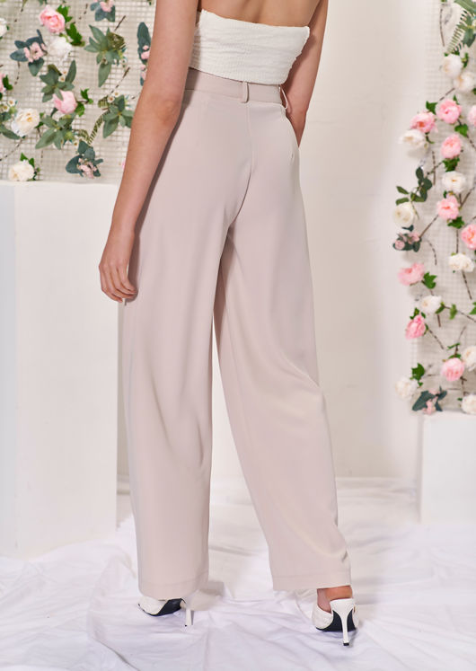 High Waisted Wide Leg Dart Pleated Palazzo Pants Trousers Beige