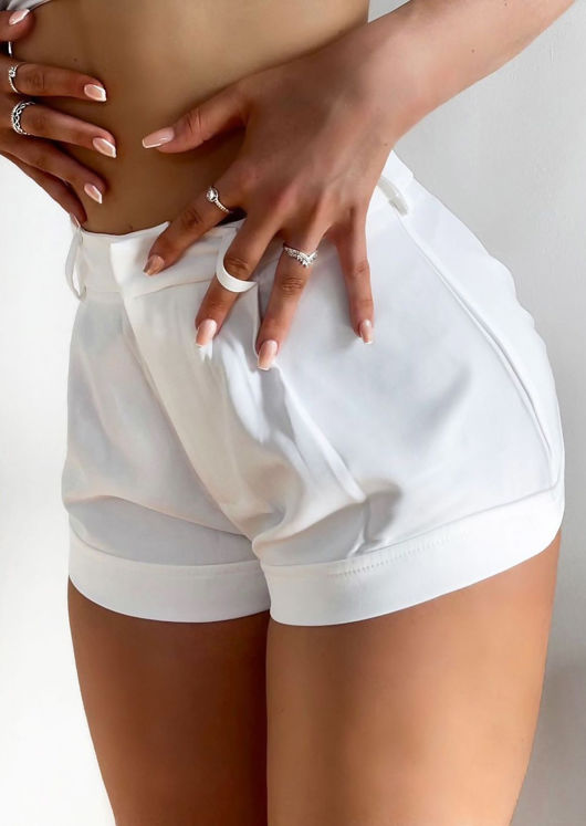 High Waisted Belt Looped Hook On Flared Shorts White