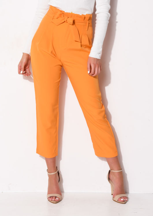 High Waisted Belted Paperbag Trousers Orange