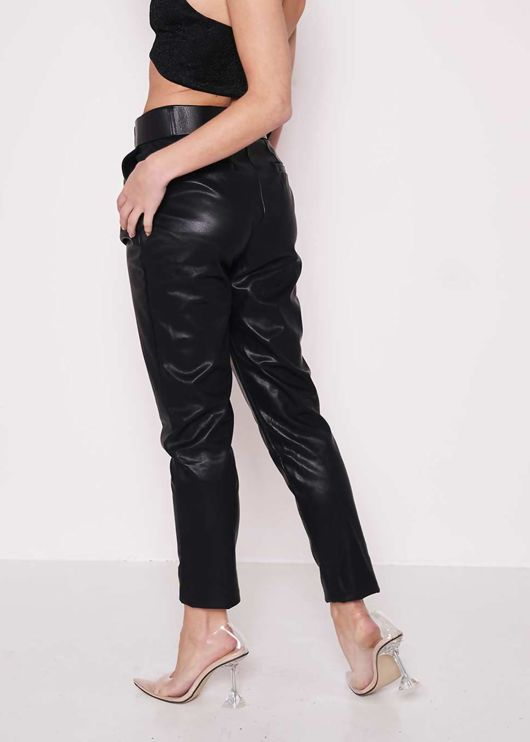 Faux Leather High Waisted Belted Pu Cigarette Pants Black