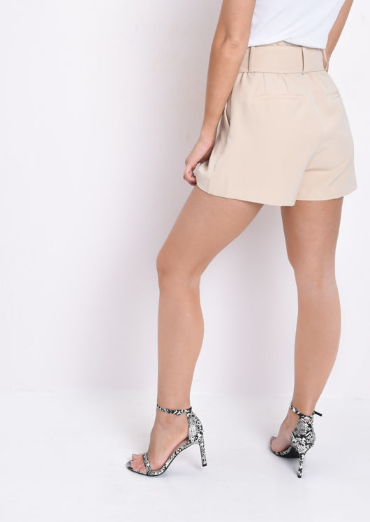 High Waisted Belted Tailored Shorts Beige