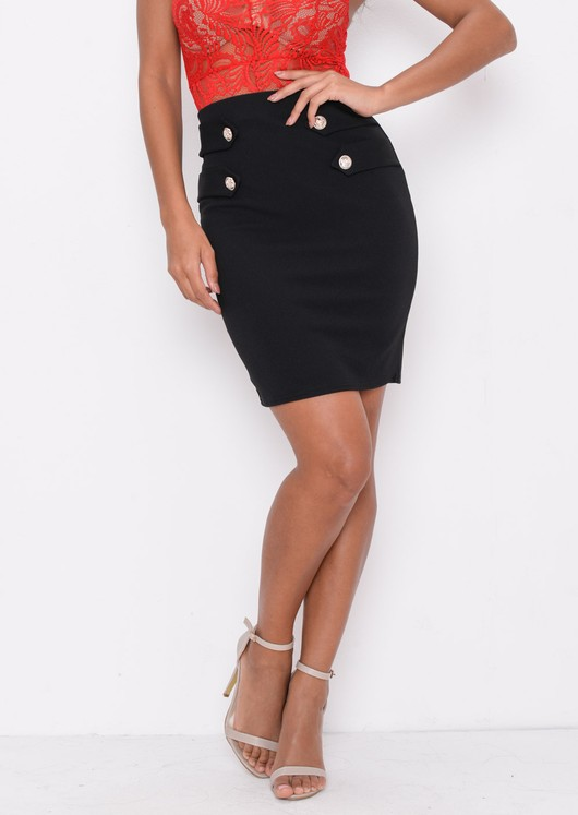 High Waisted Button Detail Mini Bodycon Skirt Black