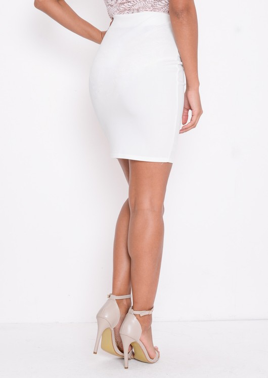 High Waisted Button Detail Mini Bodycon Skirt White