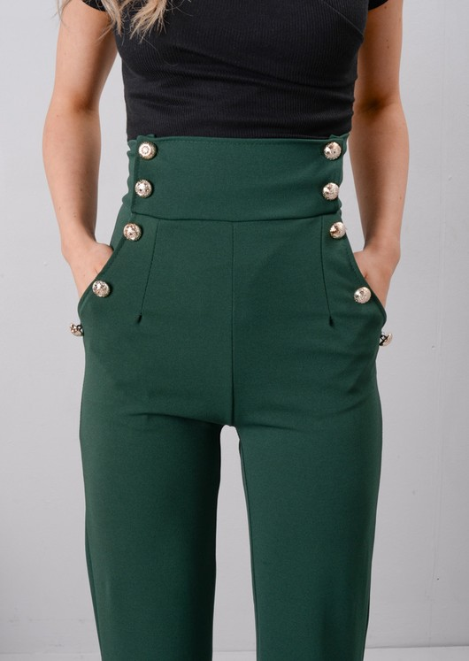 High Waisted Button Front Wide Leg Trousers Green