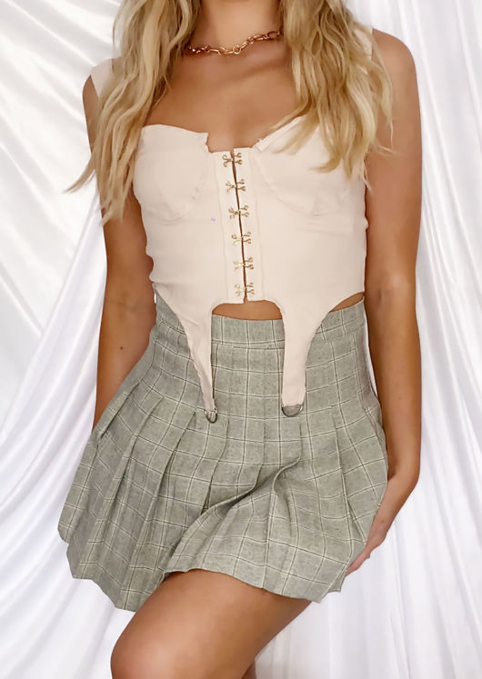 High Waisted Checked Pleated Mini Kilt Skirt Green