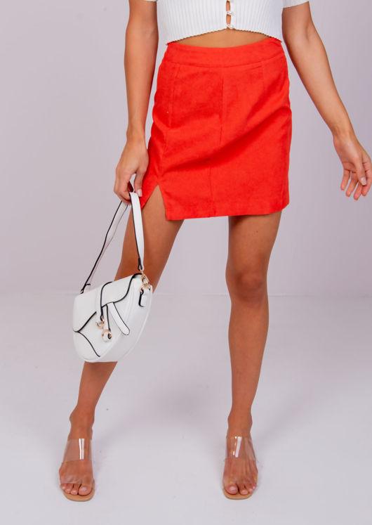 High Waisted Corduroy Mini Skirt Orange