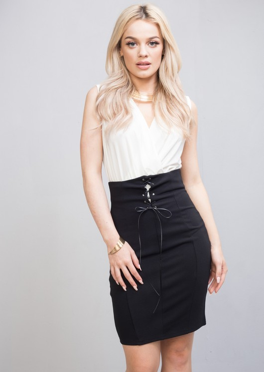 High Waisted Corset Style Lace Up Midi Skirt Black