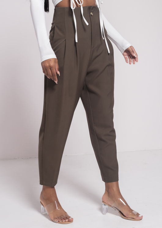 High Waisted Dart Tailored Cigarette Pants Green