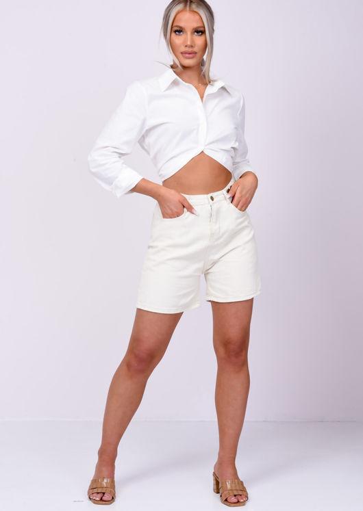 High Waisted Denim Mom Shorts Beige